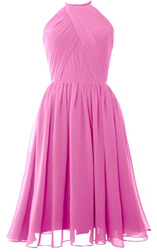 MACLoth Women Halter Chiffon Cocktail Dress Short Bridesmaid Gown with Open Back Rosa
