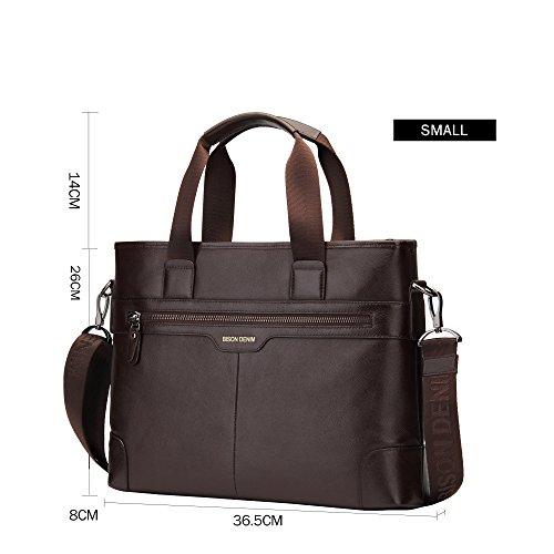 BISON DENIM Herren Klassische Echtes Leder Business Handtasche Aktenkoffer Schulter Messenger Satchel Tasche für Laptop Macbook Coffee/N2195-2F