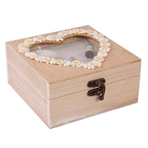 5. Hochzeitstag wieder Holz Herz Kurzwaren Trinket Box, perfekt für eine Fünfte Holz Hochzeit Jahrestag Geschenk