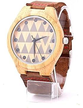 Mercimall BAB-03 beiläufige Holz-Uhr-natürliche Bambus mit Lederband Dreieck Textur