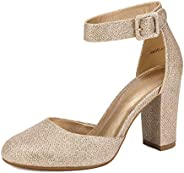 DREAM PAIRS Women's High Heel Closed Toe Chunky Wedding Pumps Shoes