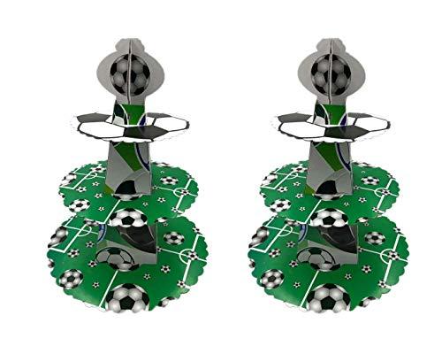 Astra Gourmet Soccer Party Supplies ̈C Servierteller, Gabeln, Becher und Servietten Perfektes Fußball-Geburtstagsparty-Set für Kinder-Fußball-Partys Cupcake Stand Cupcake Stand (Cupcake Party Becher)