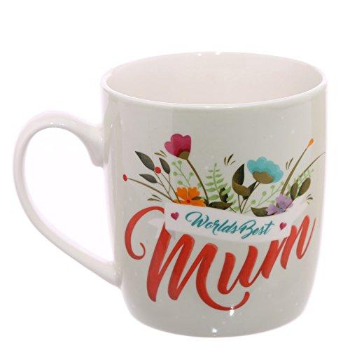 Puckator MUG248 Worlds Best Mum Mug Porcelaine Tendre Orange/Jaune/Rouge/Blanc 11,5 x 8,5 x 9,5 cm