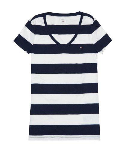 Tommy Hilfiger Damen T-Shirt mit V-Ausschnitt, einfarbig - beige - Medium