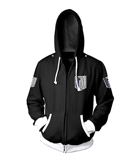 Cosstars Attack on Titan Anime Kapuzenpullover Sweatshirt Cosplay Kostüm AOT Zipper Hoodie Pulli Jacke Fitness Sport Gym Schwarz M