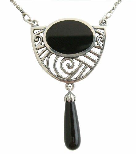 Jugendstil Damen Halskette 925 Silber Onyx-Abhaengung