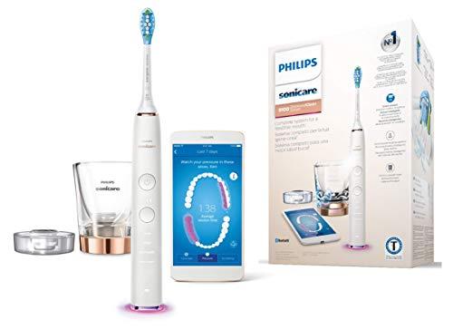 Philips Sonicare DiamondClean Smart HX9901/63 - Cepillo de dientes eléctrico con App de formación personalizada, sensor de presión, 4 modos, 3 intensidades y cargador de vaso, color oro rosa