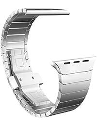 Sanday® Correa para Apple Watch, de acero inoxidable con hebilla de metal, proceso de pulido único, plateado, 42 mm