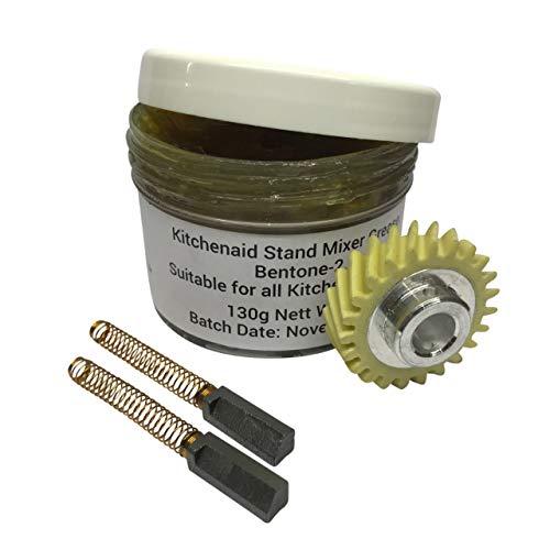 KitchenAid Worm Zahnradgetriebe, 2 x LKS Ersatzmotorbürsten und 130g LKS Fett -