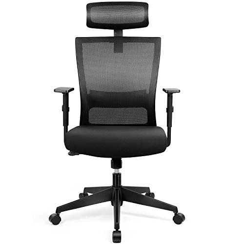 amzdeal Bürostuhl Ergonomischer Chefsessel Computerstuhl Schreibtischstuhl mit Einstellbarer Kopfstütze, Drehstuhl mit Armlehnen und Rückenlehnen,Bürostuhl Belastbar bis 136kg (66 * 126cm)
