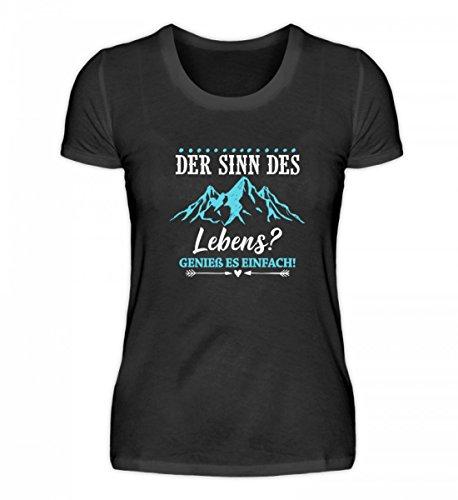 AP SHIRTZ Berge Damen T-Shirt · Bergsteiger · Wandern · Geschenk für Natur-Fans · Motiv/Spruch: Sinn des Lebens? Genieße es Einfach