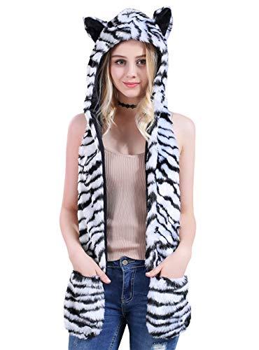 Tiger Kostüm Weißen Plüsch - AIVTALK Damen Künstliches Fell Tiere Mütze Schal Winter Warm Kapuzenschal mit Ohrenschutz Handschuhe Fellmütze 3-in-1 Kapuze Allerheiligen Kostüme Plüsch Schals - Weiß-Tiger