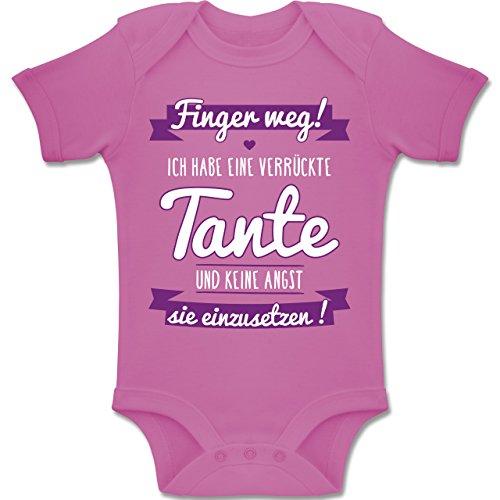 Sprüche Baby - Ich Habe eine Verrückte Tante Lila - 3-6 Monate - Pink - BZ10 - Baby Body Kurzarm Jungen Mädchen (80% 20% Viskose Polyester)
