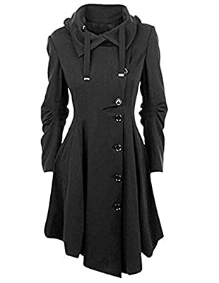 Women's Black Button Asymmetrical Winter Long Trench Jackets Coat