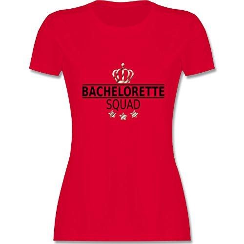 JGA Junggesellinnenabschied - Bachelorette Squad Krone - tailliertes Premium T-Shirt mit Rundhalsausschnitt für Damen Rot