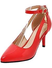 f7cbfee1ea2c YE Escarpins Bride Cheville Sexy Femme Vernis à Talon Aiguille Haut avec  Boucle Chaussure Mary Jane