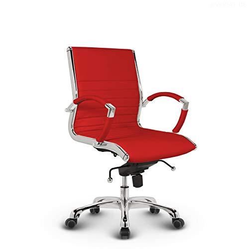 VERSEE Design Bürostuhl Montreal - Echt-Leder - rot - Konferenzstuhl, Meetingstuhl, Drehstuhl, Bürodrehstuhl, Schreibtischstuhl, Designklassiker, hochwertige Verarbeitung, Stuhl, 150 kg belastbarkeit