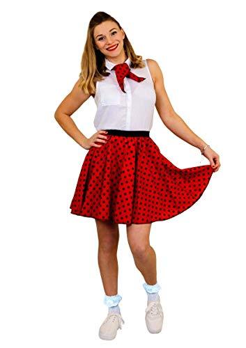 ILOVEFANCYDRESS DAMEN POLKA DOT ROCK n ROLL KOSTÜM VERKLEIDUNG=10 FARBEN+ 2 GRÖßEN=LÄNGE VON UNGEFÄHR-43 cm=TANZ FASCHING KARNEVAL VERANSTALLTUNGEN=ROT MIT SCHWARZEN PUNKTEN-PLUS SIZE (Western Und Country Fancy Dress Kostüm)