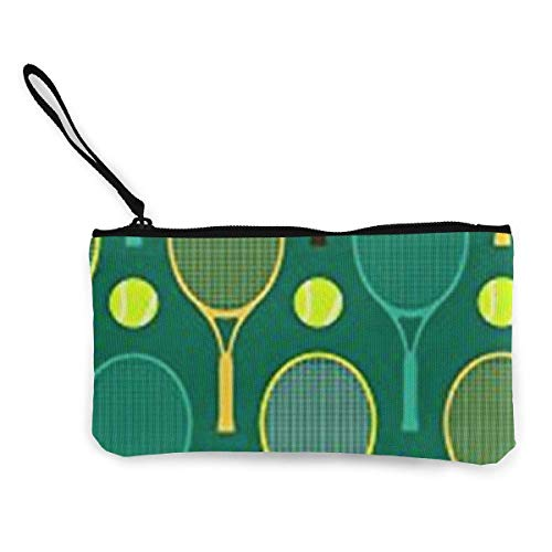 Unisex-Geldbörse, Blue and Green Tennis Rackets Womens Canvas Geldbörse Mini Change Wallet Pouch-Card Holder Phone Wallet Storage Bag,Pencil Pen Case -