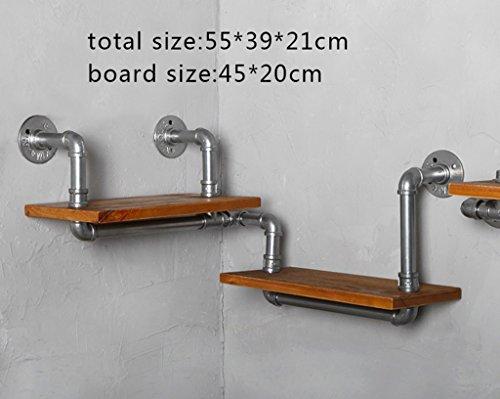 XZGang Creative Racks, Retro-Stil LOFT Wand-Wasserrohr Element Wanddekoration Bücherregal Schlafzimmer Wohnzimmer Cafe Bar Kommerziellen Shop Multifunktions-Rack Zuhause (größe : 55 * 39cm)