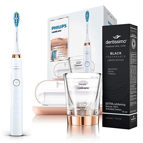 Philips Sonicare DiamondClean Elektrische Zahnbürste HX9396 Rose Gold mit DeepClean funktion + Dentissimo Zahnpasta Extra Whitening BLACK