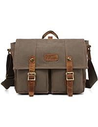 Augur Vintage Canvas Leather Military Shoulder Laptop Bags Up To 14-Inch Laptop, Messenger Bag Crossbody School...