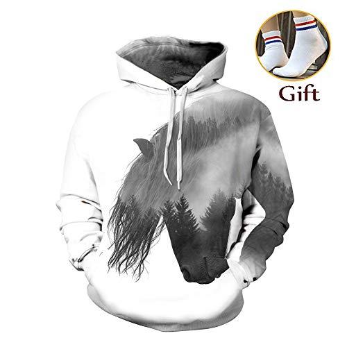 Morbuy Damen Herren Unisex 3D Druck Hoodie Kapuzenpullover Herbst WinterKapuzenpulli Top Hoodies Langarm Sweatshirt Gym Kapuzenjacke mit Taschen (S/M, Pferd 3D)