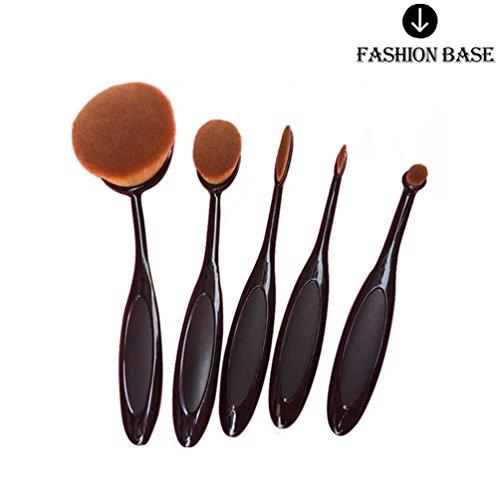 Fashion Base® NEUF Professional 5 pcs/lot de brosse à dents Forme ovale Lot de brosse de maquillage professionnel Fond de teint poudre Brosse Kits