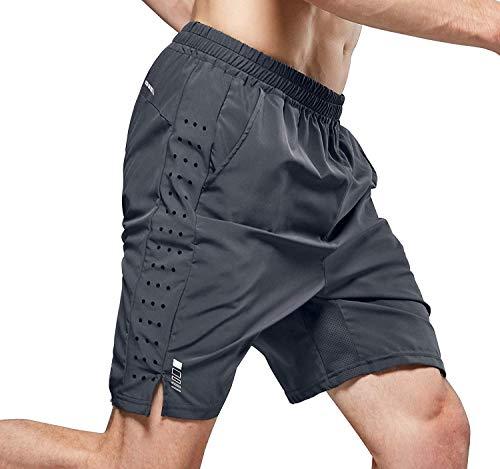 LOHOTEK 7-Zoll-Laufshorts für Herren Atmungsaktive und schnell trocknende hochelastische Fitnessshorts aus leichtem Mesh mit Futter Rückentaschen für Fitness und Laufen (Grau, L)