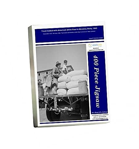 Photo Jigsaw Puzzle of Truck loaded with American white flour in Messina, Sicily, 1943