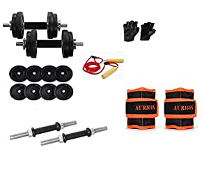 AURION 30 KG DUMBBELL SET GYM PACK WITH ACCESSORIES