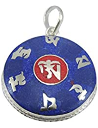 Manos del Tíbet Hecho a mano tibetano Buda de la Compasión colgante de OM Mani (Lapis)