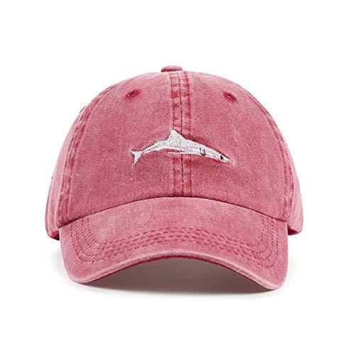 ZHENGBINGF 2019 Neue Hai Stickerei Baseball Cap 100% Baumwolle Paar Kappen einstellbar Hip Hop Casual Hut europäischen und amerikanischen Hüte, schwarz