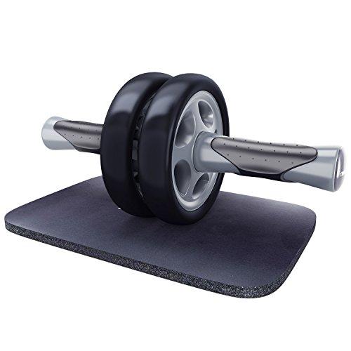 KYLIN SPORT Roue Abdominale AB Wheel Roller Pro de Fitness et Musculation de Corp-Appareil Abdominal Munit d'Un Tapis Epais pour Genoux (gris noir)