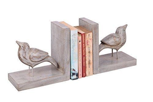 Store Indya, Set di 2 mano decorativo scolpito in legno di mango uccello a forma di fine Libro supporto del basamento Bookshelf Organizer Home Office Decor