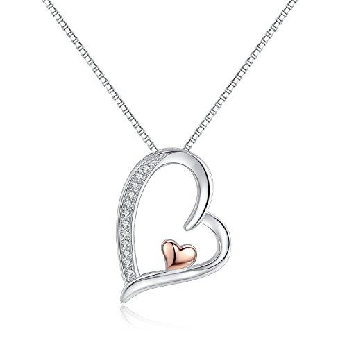Silber Rosé-Gold Herz Anhänger Halskette Zirkonia 45CM Kettenlänge Kette für Damen (Silber Halskette Herz)