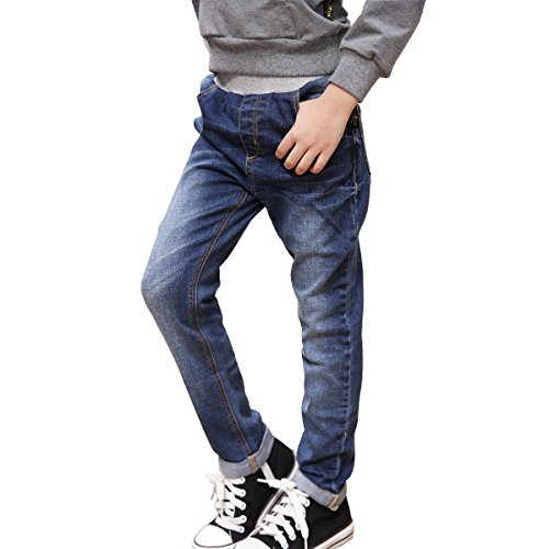 NABER Boys' Casual Elastic Waistband Classic Washed Denim Blue Jeans for Kids Ages 4-13 Years