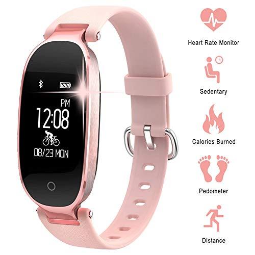 XMYL Fitness Tracker mit Pulsmesser, Schlanke Sport Activity Tracker Smart Watch, Wasserdichte Fitnessuhr Uhr mit Schlaf Monitor, Damen und Herren,für Samsung Huawei Android IOS Smartphone,Pink (Polar Monitor Activity)
