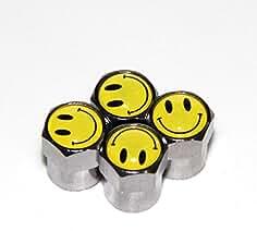 KUSTOM66 4er Set Ventilkappen Smiley COOL in gelb
