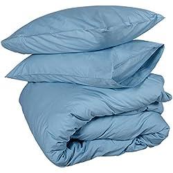 Homescapes 3 tlg Bettwäsche 240x220 cm Blau 100% ägyptische Baumwolle Fadendichte 200