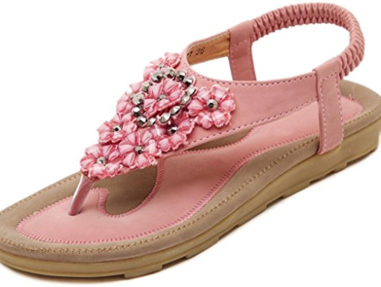 Moda de Verano de Mujer Boho Dulce Flor Diamantes de Imitación Zapatos de Mujer de Las Mujeres Tanga Plana Sandalias...