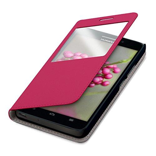 kwmobile Hülle für Huawei Ascend G620s - Bookstyle Case Handy Schutzhülle Kunstleder mit Sichtfenster - Flipcover Klapphülle Pink