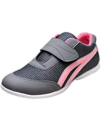 Zoshoes women Grey Pink Synthetic leather running shoe