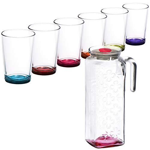 COM-FOUR® 7-teiliges Gläser Set mit Glas-Karaffe im stilvollen, modernen Design - spülmaschinenfest (7-teilig - Bunt) (Kunststoff-wein-gläser Farbe Rot)