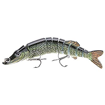 "Fishing lure - TOOGOO (R) 5 ""/ 12, 5cm 20g alive realistic fishing lure multi articulated 9-segement Pike Muskie Swimbait Crankbait hard fish bait with two Triple hook "" from TOOGOO (R)"