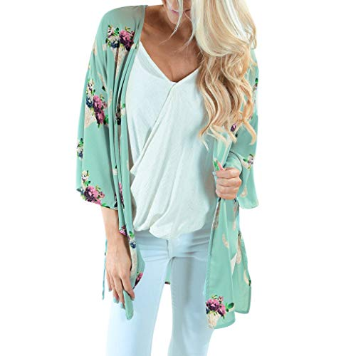 Bedruckter Kimono Lange Strickjacke Strandbluse Mode Damen Chiffon Schal trendy Top Cover Up Bluse dünne Beachwear YunYoud Sommer leicht Mode Oberteile Classic Tops -