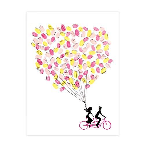 DIY Hochzeit Fingerabdruck Baum Leinwand Unterschrift Gästebuch Mit 6 Farben Tinte für Hochzeit Geburtstag Party(HK023) (Personalisierte Wedding Party Geschenke)
