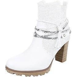Cowboy- / Westernstiefel Damen-Schuhe Cowboy Stiefel Pump Western Style Reißverschluss Ital-Design Stiefel Weiß, Gr 37, Ja3096-2-