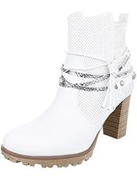 Cowboy- / Westernstiefel Damenschuhe Cowboy Stiefel Pump Western Style Reißverschluss Ital-Design Stiefel