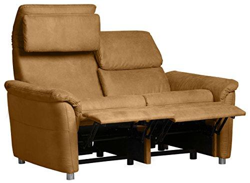 CAVADORE 2-Sitzer Sofa Chalsay inkl. Verstellbarem Kopfteil und Relaxfunktion/mit Federkern / 2er Kino-Sofa Modern/Größe: 145 x 94 x 92 cm (BxHxT) / Farbe: Hellbraun (Mustard)